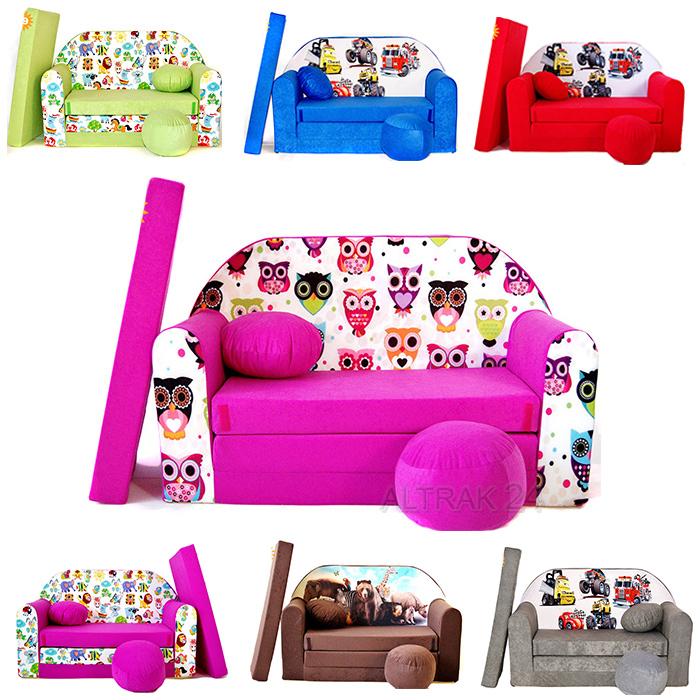 Kids Foam Sofa Bed Fold Out Multi Colours