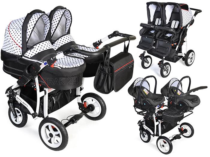 Zwillingskinderwagen mit babyschale  Zwillingswagen Kombi Zwillingskinderwagen 3in1 Duo Twin Dorjan ...