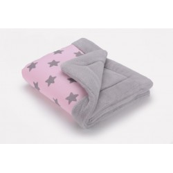 Cottonmoose - Koc zimowy - 743 Pink stars cotton jersey Gray