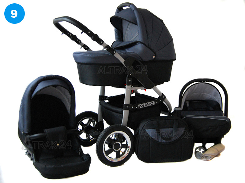 Baby Pram Stroller Buggy Pushchair Avaro 3in1 car seat swivel wheels