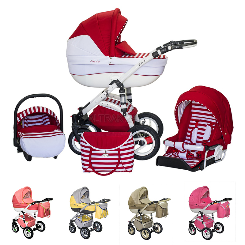 51 COLOURS + CAR SEAT 0-13kg ( if required)  sc 1 st  eBay & Baby Pram Stroller Buggy Pushchair Evado Wiejar travel system 3in1 ...